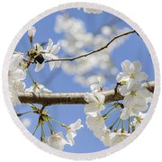 Cherry Blossoms And Bumblebee Round Beach Towel