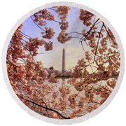 Cherry Blossoms And The Washington Monument Round Beach Towel by Lois Bryan