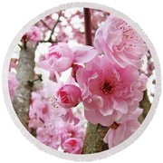 Cherry Blossoms Art Prints 12 Cherry Tree Blossoms Artwork Nature Art Spring Round Beach Towel