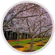 Cherry Blossoms At The Beach Round Beach Towel