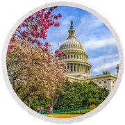 Cherry Blossoms At The Capitol Round Beach Towel