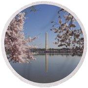 Cherry Blossoms Monument Round Beach Towel