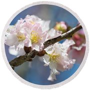 Cherry Blossoms On Blue Round Beach Towel