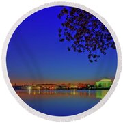 Cherry Blossoms Sunrise Round Beach Towel