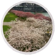 Cherry Blossoms Trees Along Portland Waterfront Round Beach Towel