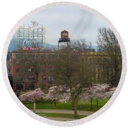 Cherry Blossoms Trees In Portland Old Town Round Beach Towel