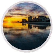 Cherry Grove Beach Front Sunset Round Beach Towel