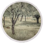 Cherry Orchard In Infrared Round Beach Towel
