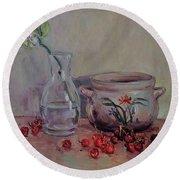 Cherry Still Life Pottery Red Still Life Art Still Life Painting Impressionist Painting Impression Round Beach Towel