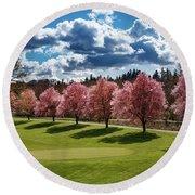 Cherry Tree Bloom Color Round Beach Towel