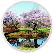 Cherry Trees In The Park Round Beach Towel