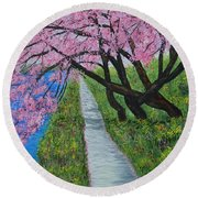 Cherry Trees- Pink Blossoms- Landscape Painting Round Beach Towel