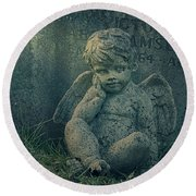 Cherub Lost In Thoughts Round Beach Towel