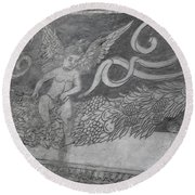 Cherub Stone Graffiti 2 Round Beach Towel