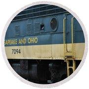 Chesapeake And Ohio Boxcar  Round Beach Towel
