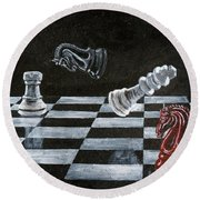 Chess Round Beach Towel