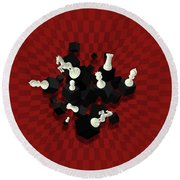 Chessboard And 3d Chess Pieces Composition On Red Round Beach Towel