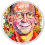 Chester Bennington Watercolor Round Beach Towel