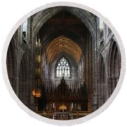 Chester Cathedral England Uk Inside The Nave Round Beach Towel