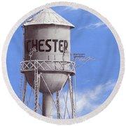 Chester Water Tower Ne Round Beach Towel