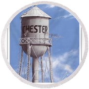 Chester Water Tower Poster Round Beach Towel