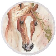 Chestnut Arabian Horse 2016 08 02 Round Beach Towel