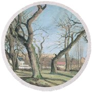 Chestnut Trees At Louveciennes Round Beach Towel by Camille Pissarro