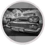 Chevrolet Biscayne 1958 In Black And White Round Beach Towel