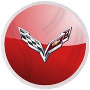 Chevrolet Corvette - 3d Badge On Red Round Beach Towel