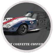 Chevrolet Corvette Convertible L88 1968,original Fast Race Car Round Beach Towel