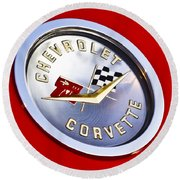 Chevrolet Corvette Hood Ornament Round Beach Towel