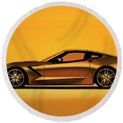 Chevrolet Corvette Stingray 2013 Painting Round Beach Towel