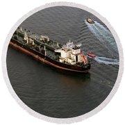 Chevron Pegasus Voyager Oil Tanker Round Beach Towel