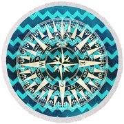 Chevron Print Compass Blue Round Beach Towel