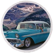 Chevy At Lake Louise Round Beach Towel