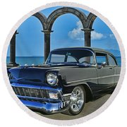 Chevy Belair In Mexico Round Beach Towel