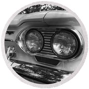 Chevy Corvair Headights And Bumper Black And White Round Beach Towel