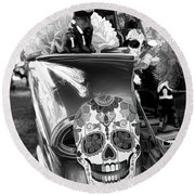 Chevy Decor Day Of Dead Bw Round Beach Towel