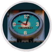 Chevy Neon Clock Round Beach Towel