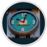 Chevy Neon Clock Round Beach Towel