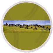 Cheyenne Cattle Roundup Round Beach Towel