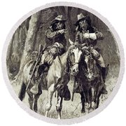 Cheyenne Scouts Patrolling The Big Timber Of The North Canadian, Round Beach Towel