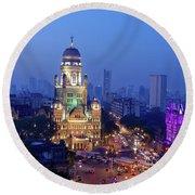 Chhatrapati Shivaji Terminus V.t. And Municipality Head Office In Mumbai. Round Beach Towel