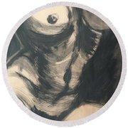 Chiaroscuro Torso - Female Nude Round Beach Towel