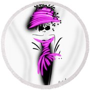 Chic In Pink Silk Couture  Round Beach Towel