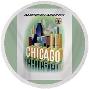 Chicago American Airlines 1950 Round Beach Towel