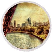 Chicago Approaching The City In June Textured Round Beach Towel