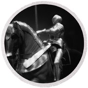 Chicago Art Institute Armored Knight And Horse Bw 01 Round Beach Towel