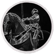Chicago Art Institute Armored Knight And Horse Bw Pa 02 Round Beach Towel