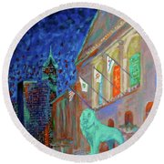 Chicago Art Institute Round Beach Towel